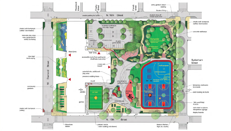 Duckrey Schoolyard Conceptual Plan - by Community Design Collaborative